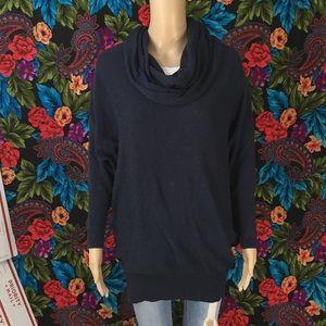 Sweaters - Women's cowl fashion sweater dark blue size LARGE